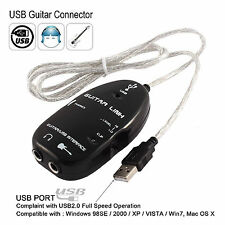 2PCS Electric Guitar to USB Interface Link Connection Audio Cable For PC MP3 MAC