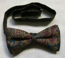 Bow Tie MENS Dickie Bowtie Adjustable 1990s Navy Gold PAISLEY
