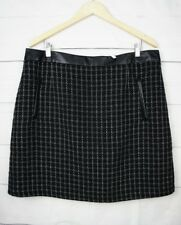 New $100 Jacqui E Womens Skirt 18 Wool Tweed Faux Leather Plaid A Line Pocket