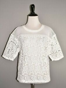 ANN TAYLOR LOFT NEW $70 Sheer Lace Blossom Tee in White Small