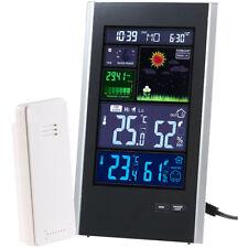 infactory Funk-Wetterstation mit Außensensor, Wecker & USB-Ladeport (2 Ampere)