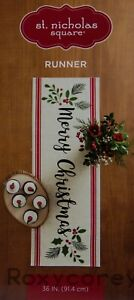 St Nicholas Square Festive Merry Christmas Table Runner 13x36 in NWT
