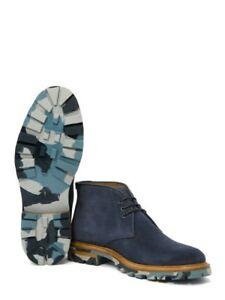 Aquatalia Jeffrey Suede Chukka Boot, Navy Blue , Size 12 ($595) Made in Italy