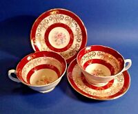 Royal Grafton 2 Pedestal Cups And Saucers - Dark Red And Gold Filigree - England