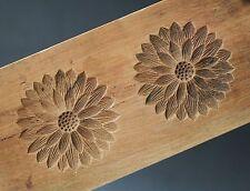 ANTIQUE JAPANESE KASHIGATA Hand Carved Wooden Cake Mold -  KIKU Flowers