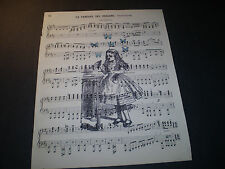 1893 ORIGINAL MUSIC BOOK PAGE WITH VINTAGE ARTWORK OF ALICE IN WONDERLAND