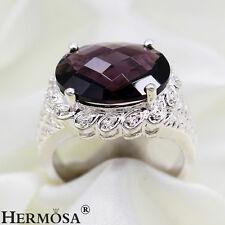Top Splendid Oval Amethyst 925 Sterling Silver Wedding Female Rings Sz.7# MR104