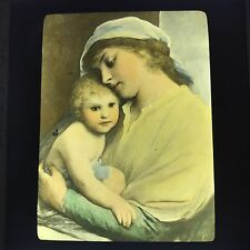 Antique Magic Lantern Glass Slide Photo Madonna And Christ Child Max