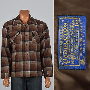 XL 1960s Mens Pendleton Wool Plaid Shirt VTG Long Sleeve Square Cut Patch Pocket