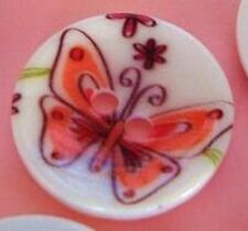 10 Hand Paint Plastic Flatback Sewing Button/trim/2 Holes/Notion-Butterfly Sb33