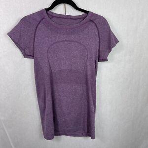 Lululemon Short Sleeve Seawheeze Athletic I Am A Runner Shirt Top Size 8 Purple