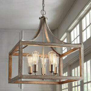 5-Light Brushed Nickel Pendant Boswell Quarter Collection Open Cage Design Home
