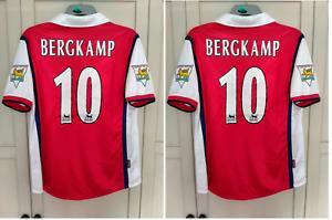 "Bergkamp Arsenal 1998 1999 Football Shirt Home Gunners SIZE LARGE (L) 41"" fit"