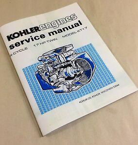 KOHLER ENGINES 17HP TWIN CYLINDER MODEL KT17 SERVICE SHOP REPAIR MANUAL