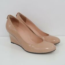 Stuart Weitzman Wedge Pumps Womens 8M Nude Beige Patent Leather Classic Heel