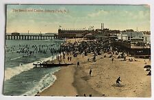 1910 Postcard The Beach and Casino Asbury Park NJ New Jersey (V & Sons Div Back)