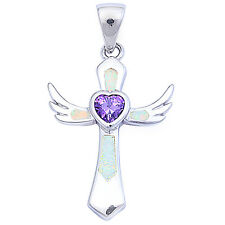 "White Opal & Amethyst Wings Cross .925 Sterling Silver Pendant 1.5"" long"