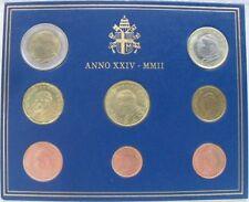 EURO VATICANO 2002 SERIE DIVISIONALE COMPLETA FDC-GIOVANNI PAOLO II-ANNO XXIV