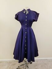 50's Vintage Women's Navy Taffeta Fit and Flare Dress- Wounded but Wonderful