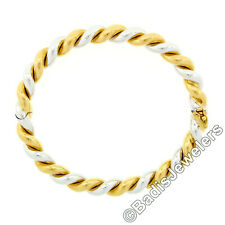 Italian 18k Yellow White Gold 7mm Wide Twisted Wire Cable Hinged Bangle Bracelet