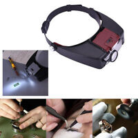 1*Headband Headset LED Head Lamp Light Jeweler Magnifier Magnifying Glass Loupe