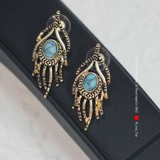 Ohrringe Stecker Chip golden Branch Koralle fein türkis blau Original n 3