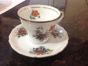 Vintage Bavaria Porcelain Floral Tea Cup & Saucer HK
