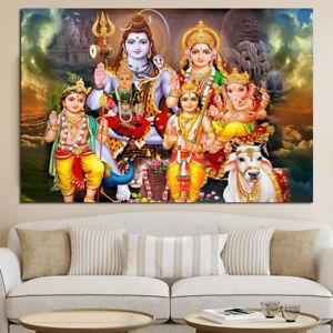 Lord Shiva Parvati Ganesha Family 1 Panel Canvas Print Wall Art