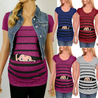 Maternity Cute Funny Baby Print Striped Short Sleeve T-shirt Pregnant Tops Blous