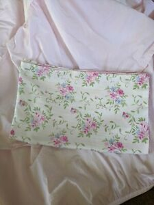 Cottage Style Floral Pink and Blue Pillowcase