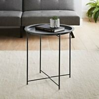 Fabulous Tromso Removable Top Metal Tray Side Table -grey
