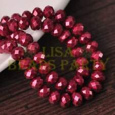 50pcs 6X4mm Rondelle Pearl Like  Faceted Glass Loose Spacer Beads Wine Red