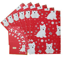 West Highland Terrier Westie Dog Christmas Wrapping Gift Paper 6 Sheets & 6 Tags