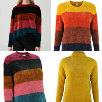 Womens Mustard Yellow Pink Blue Orange Stripe Chenille Funnel Round neck Jumper