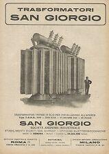 Y0799 Trasformatori trifasi in olio SAN GIORGIO - Pubblicità 1927 - Advertising