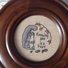 """Needlepoint handmade Round Vintage Stitched 7.5"""" Framed Knowing You Is a Treat"""