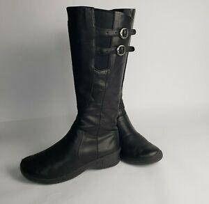 Women's Keen Bern Baby Bern Knee High Boots Black Leather Buckle Zip EUC $185