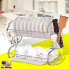 Kitchen Storage - 2 Tier Stainless Steel Dish Drainer Drying Rack Space Saver US