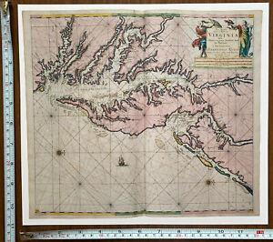 Old Antique Vintage MAP 1600s 1684 Virginia Chesapeake Delaware America Reprint