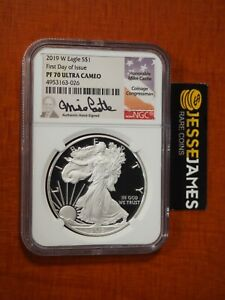 2019 W PROOF SILVER EAGLE NGC PF70 ULTRA CAMEO MIKE CASTLE FIRST DAY OF ISSUE