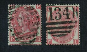 CKStamps: Great Britain Stamps Collection Scott#49 Victoria Used P#7 P#9
