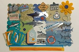 Shark Week Custom Mini Book Chipboard Album Kit Scrapbook
