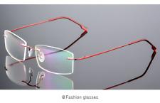 Flexible titanium alloy rimless Eyeglasses Women Men glasses Frames optic red