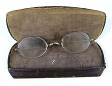 Antique Nickel Oval Eyeglasses W Saddle Bridge w/ Leather Covered Case Pat.1907