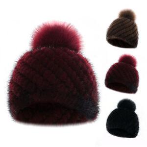 Frauen strickte Pelz Hüte mit Fox Pelz Erbsen beiläufiger im Freiensport warmer