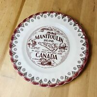 Vintage Manitoulin Island Canada Warranted 22K Gold Trim Edge Cake Plate