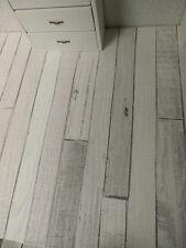 """kalk-grau-weißer  Shabby-Chic-Vintage""-Holzfußboden-TAPETE,Puppenstube,30cmx53"