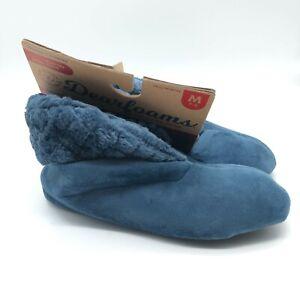 Dearfoams Womens Bootie Slippers Slip On Fleece Faux Fur Blue Size M 7-8