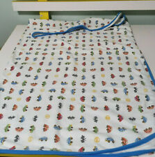 DYMPLES BABY BLANKET CARS ALL OVER BLUE EDGING WRAP COTTON