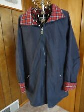 Womens 2X Coat Collectibles Navy w Red Plaid Collar/Cuffs Jacket